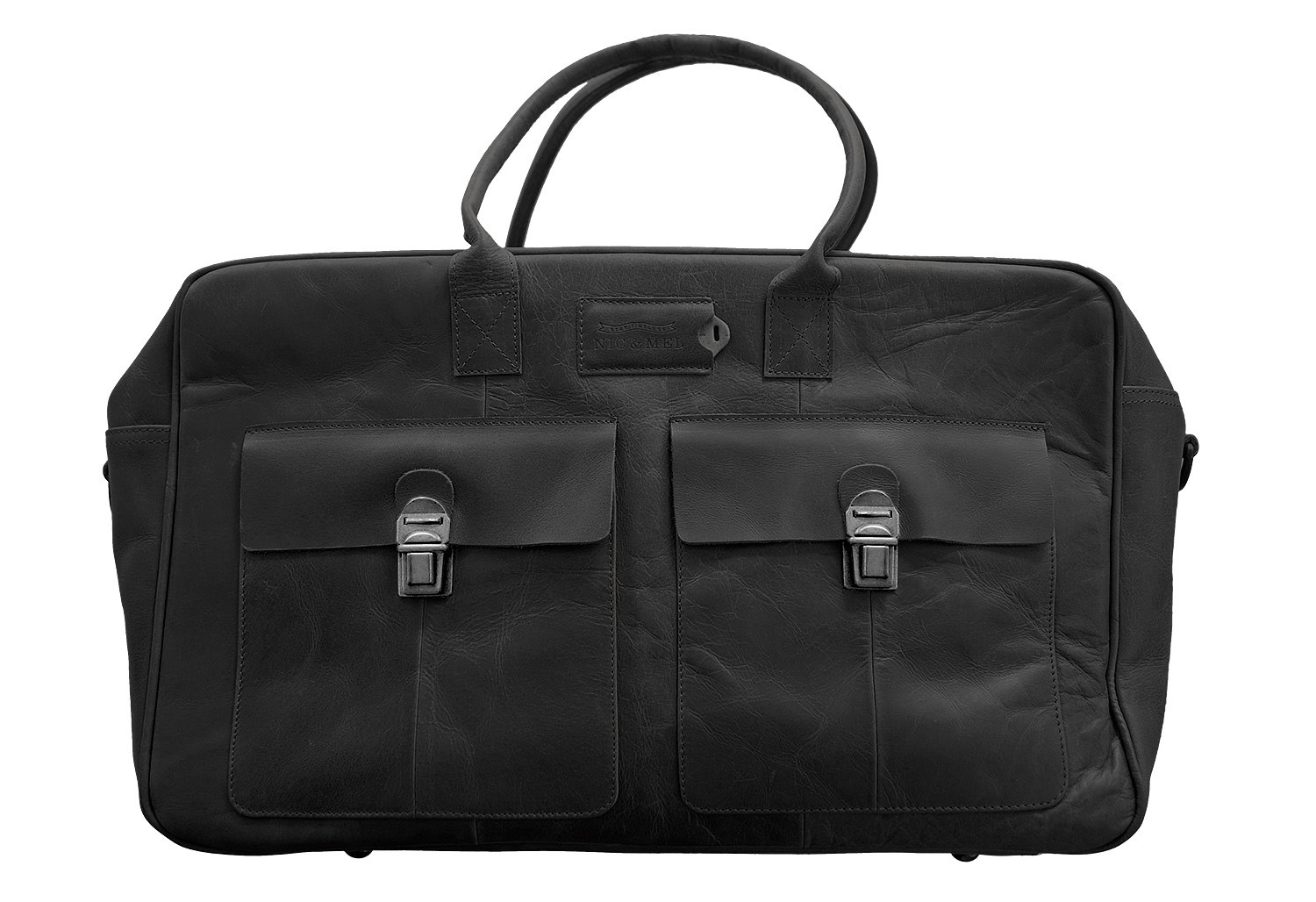 Nic & Mel - Cliff Black Leather Weekend Bag