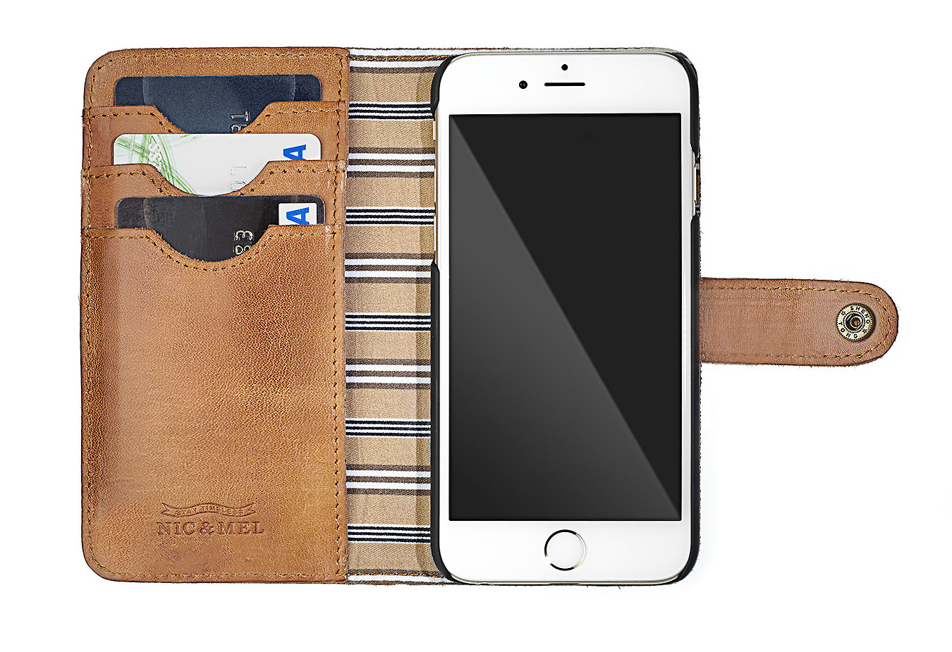 andrew phone wallet cognac leather iphone 6 7 8 nic mel. Black Bedroom Furniture Sets. Home Design Ideas
