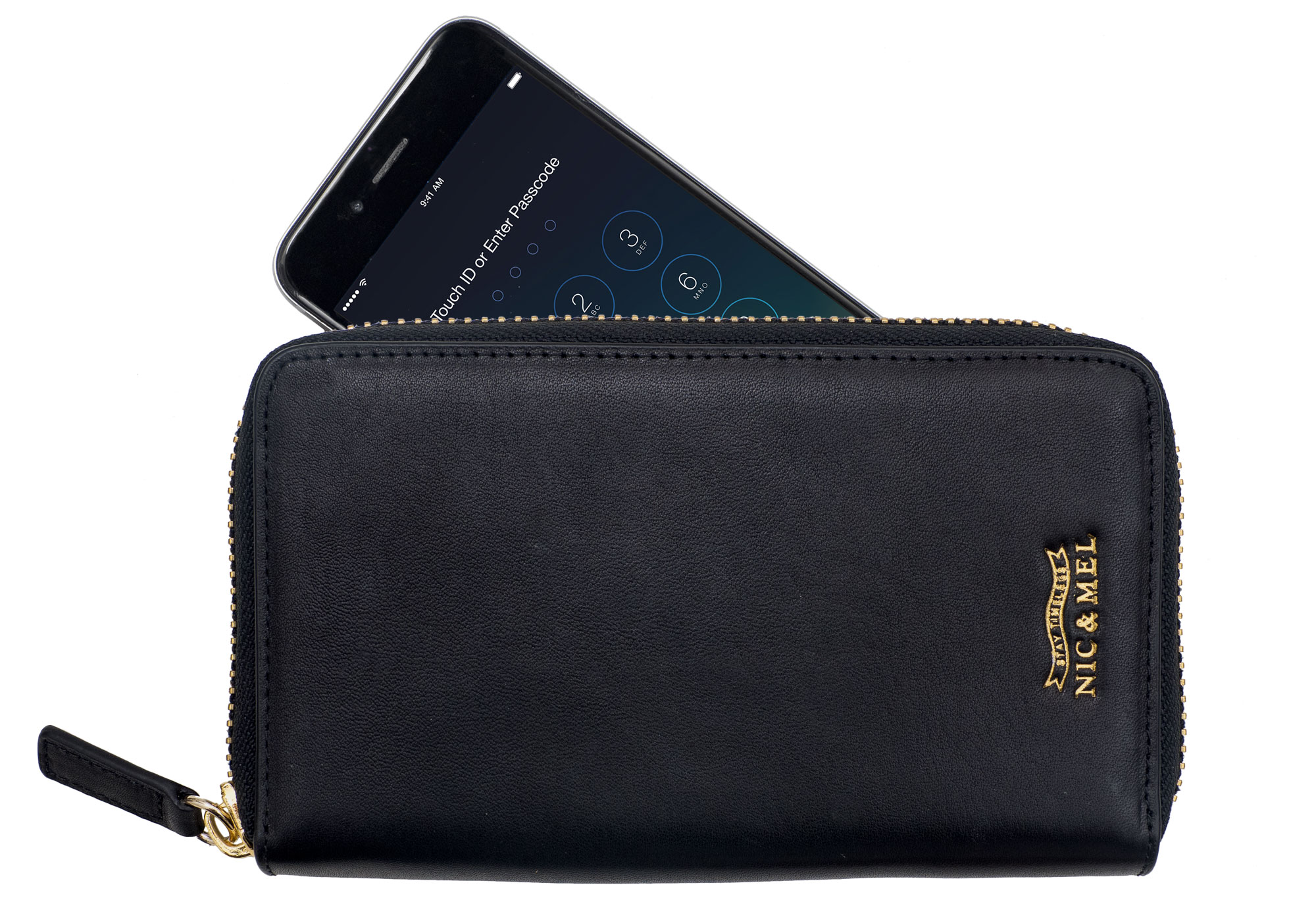 JILL PHONE WALLET <br>Black Leather <br>For All Phones
