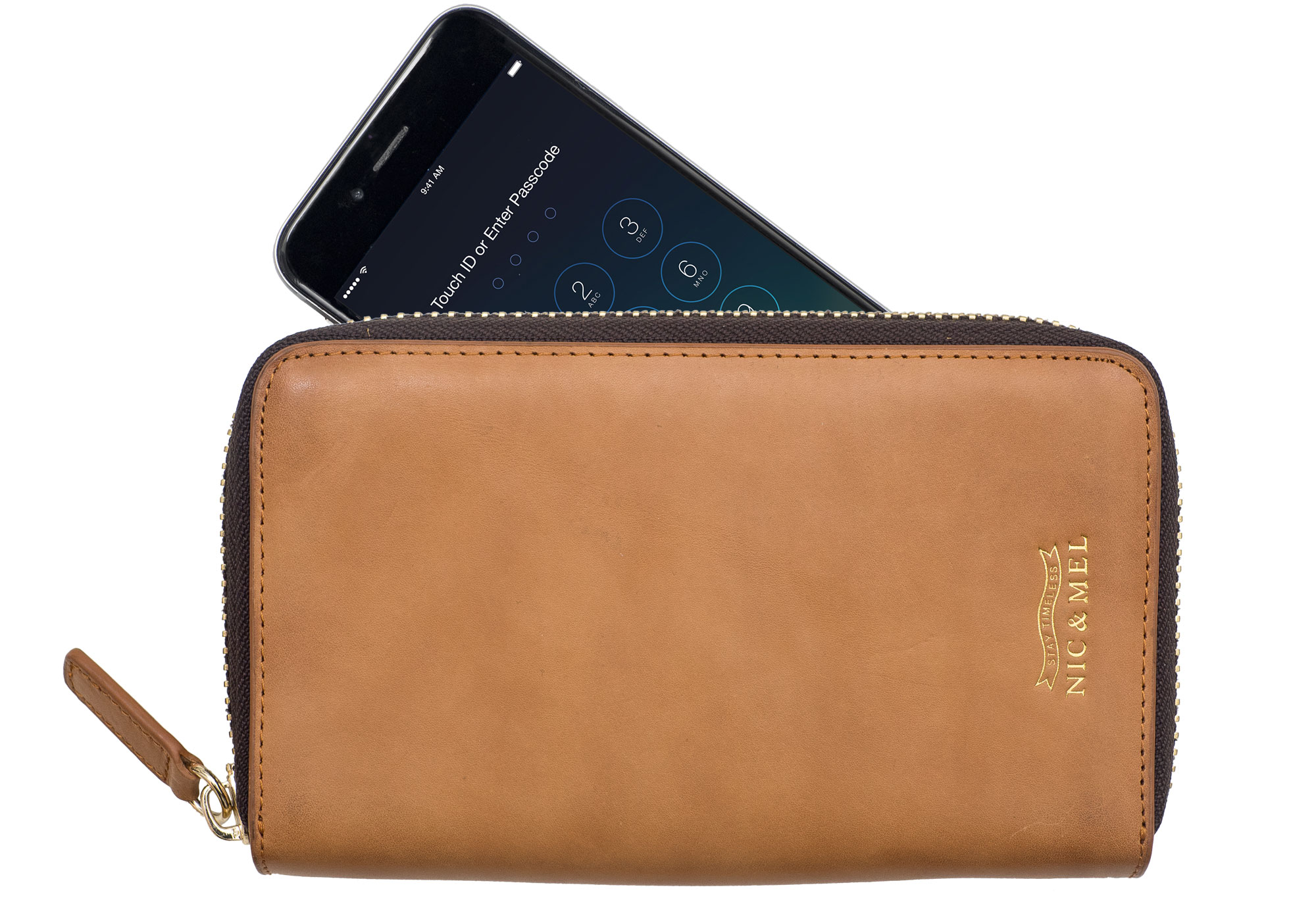 JILL PHONE WALLET <br>Cognac Leather <br> For All Phones