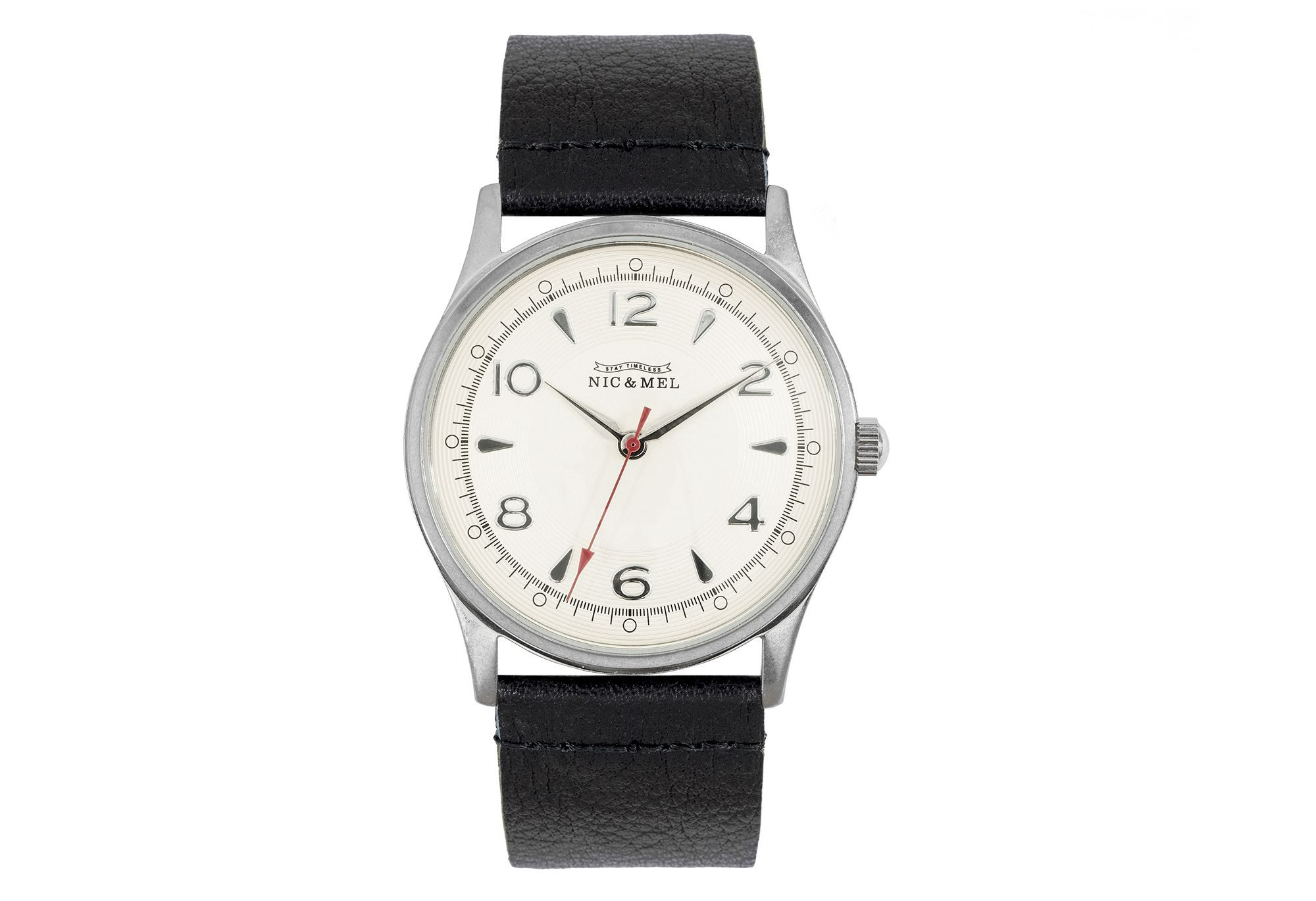 CLARK WRISTWATCH <br> Black Leather
