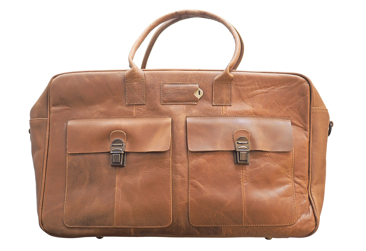 CLIFF WEEKENDBAG <br>Cognac Leather