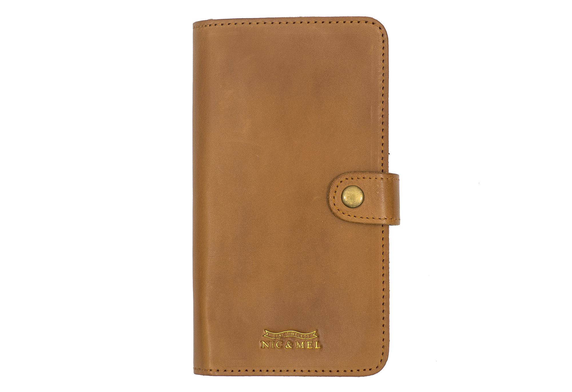 ANDREW BOOKCASE <br>Cognac Leather <br>iPhone 6 PLUS/7 PLUS