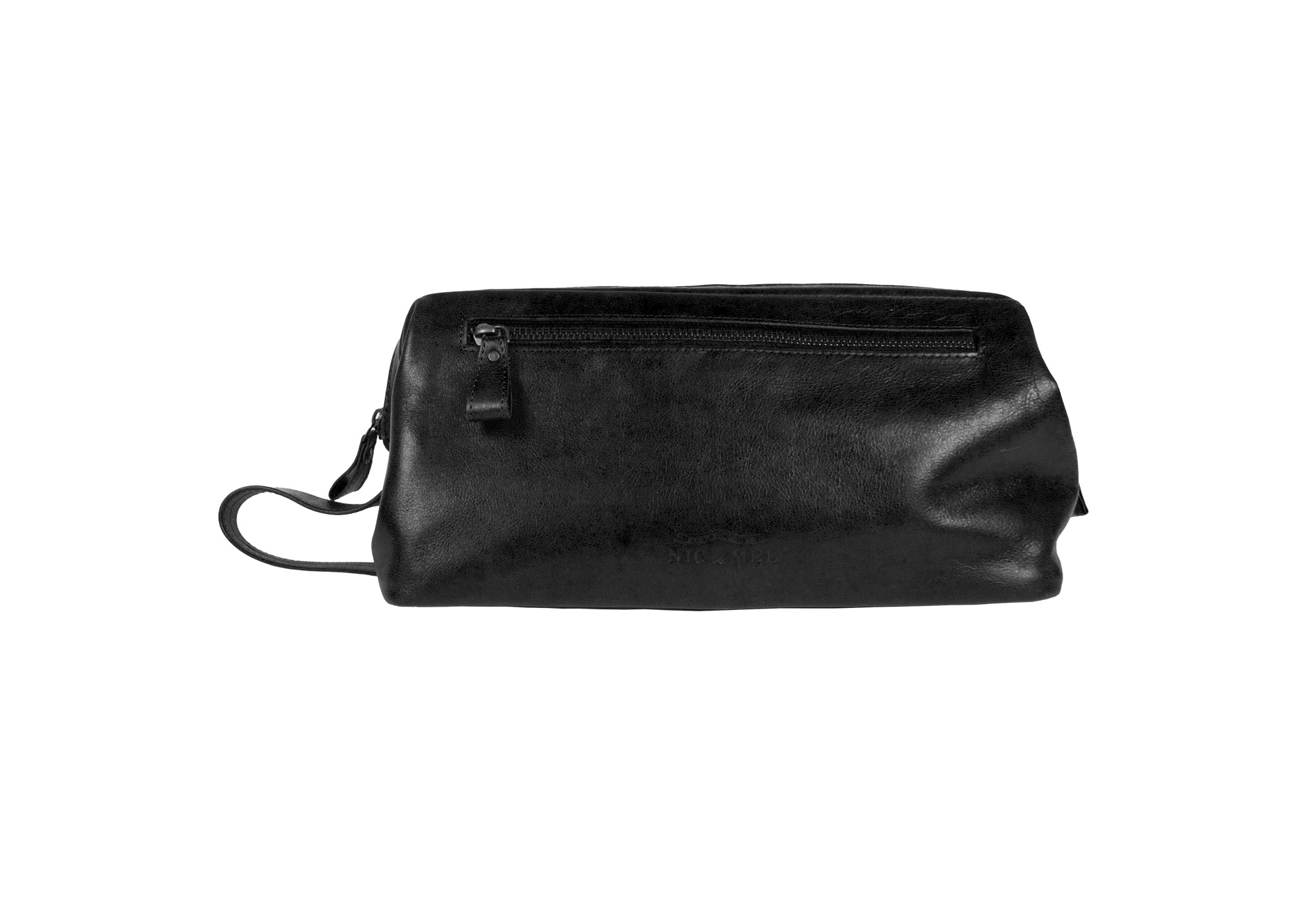 SEAN JUNIOR TOILETRY BAG <br>Black Leather