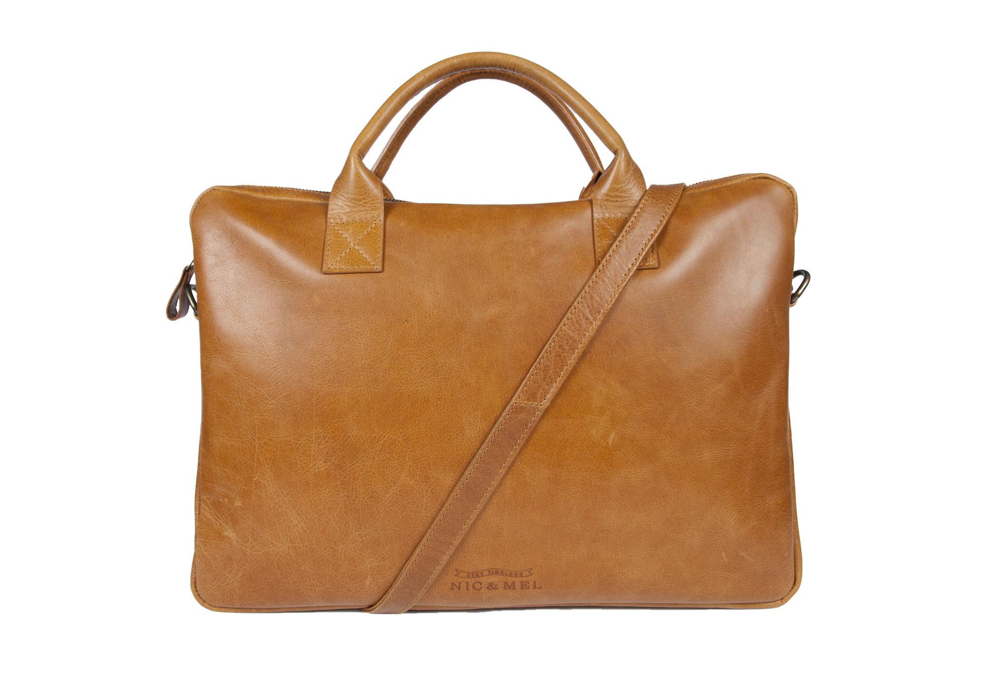 WAYNE COMPUTERBAG 15″ <br>Cognac Leather