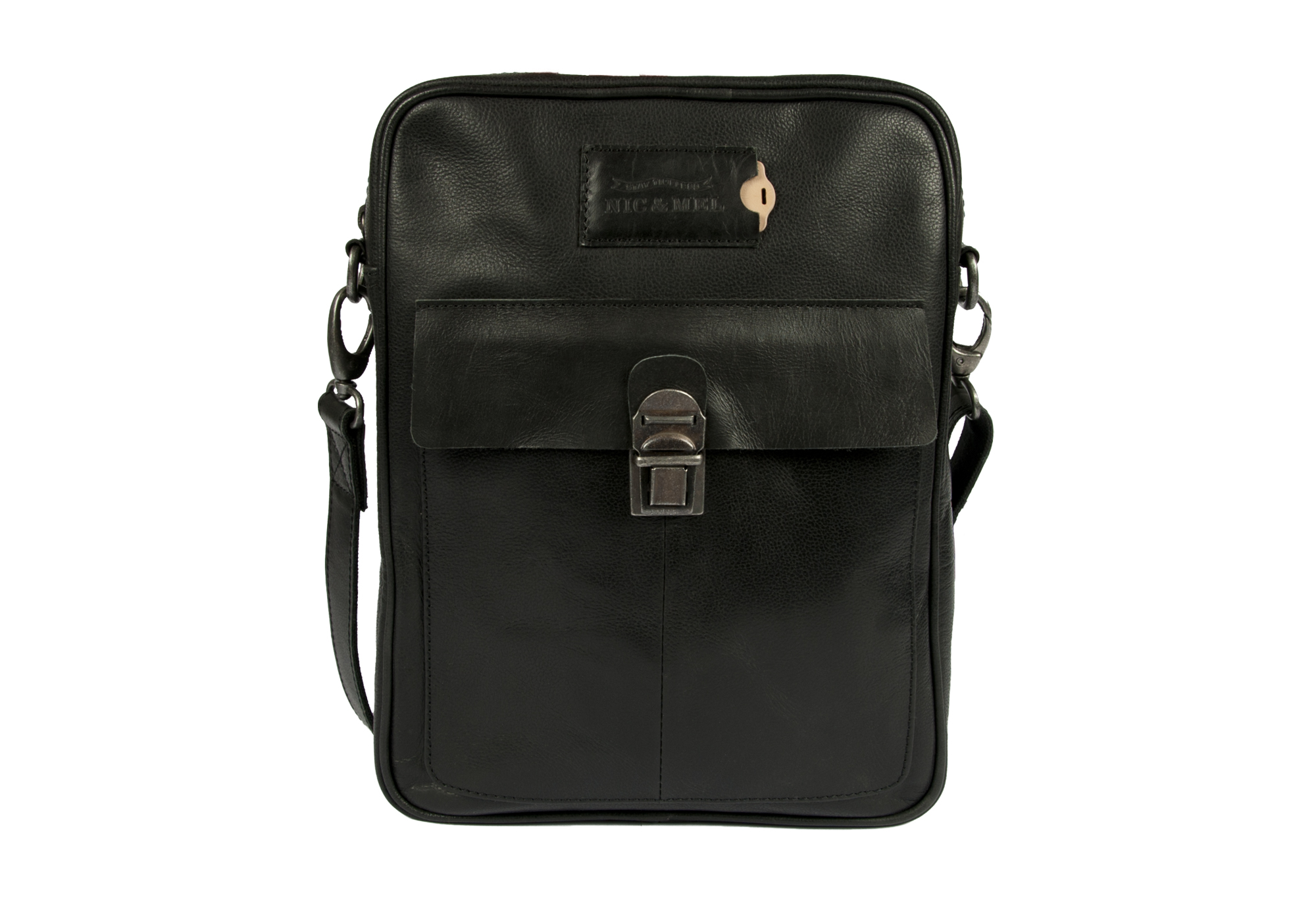 CLIFF IPAD/LAPTOP BAG <br>Black Leather