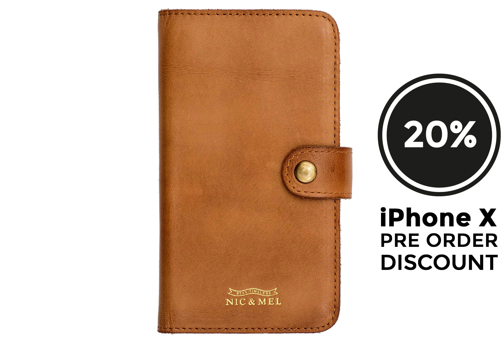 ANDREW BOOK CASE <br> Cognac Leather <br> iPhone X